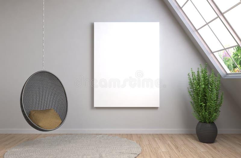 Mofa encima del marco del cartel en fondo interior ilustración 3D libre illustration