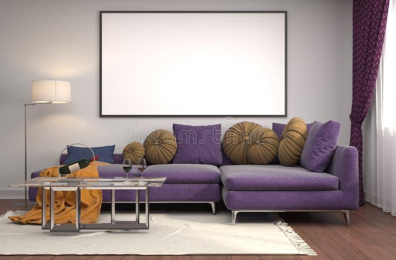 Mofa encima del marco del cartel en fondo interior ilustración 3D stock de ilustración