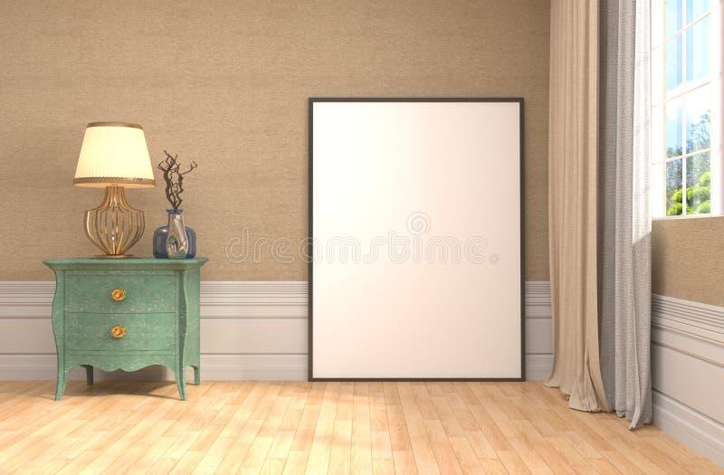 Mofa encima del marco del cartel en fondo interior ilustración 3D ilustración del vector