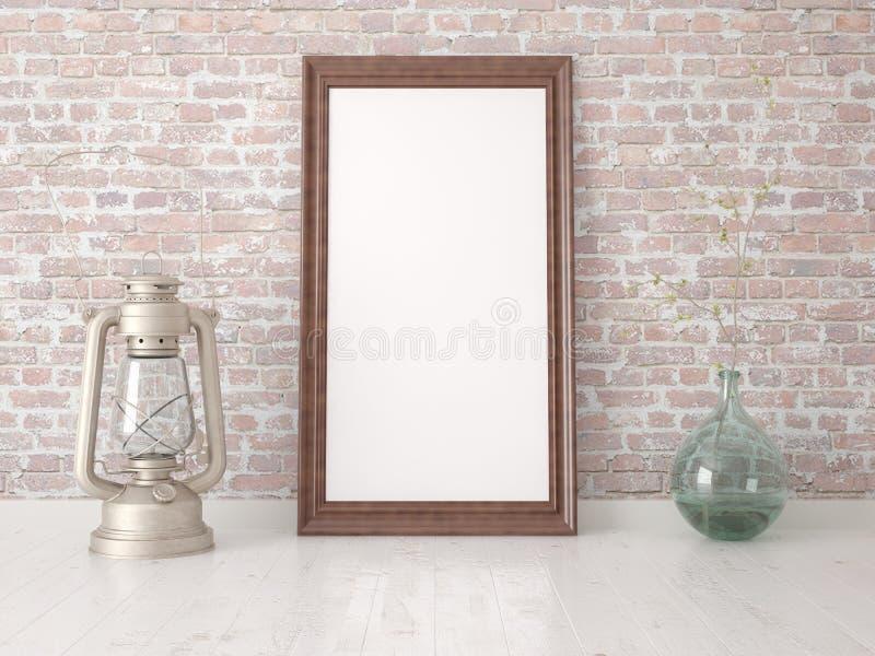 Mofa encima del marco vacío contra stock de ilustración