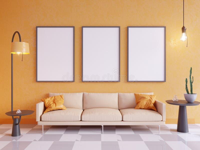 Mofa horizontal del cartel para arriba con el marco, el sofá, la lámpara y las plantas representación 3d Ilustración ilustración del vector