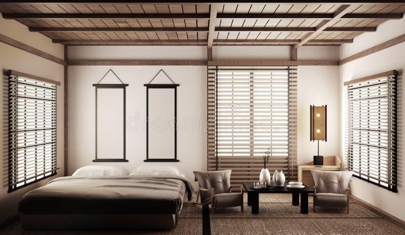 Mofa moderna de lujo interior del dormitorio del estilo japonés para arriba, diseñando el más hermoso representaci?n 3d ilustración del vector