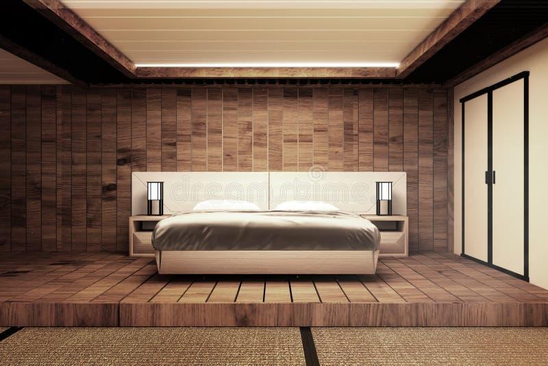 Mofa moderna de lujo interior del dormitorio del estilo japonés para arriba, diseñando el más hermoso representaci?n 3d stock de ilustración