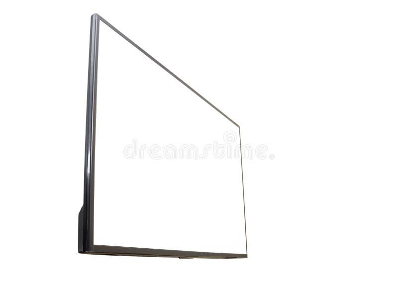 Mofa negra de la maqueta de la pantalla de la televisión del LED TV para arriba, en blanco en el fondo blanco imagenes de archivo
