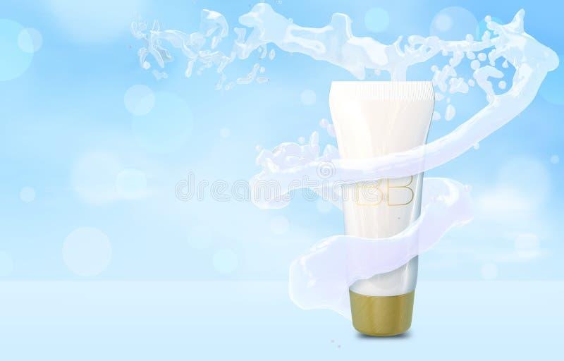 Mofa poner crema de la botella del BB para arriba en chapoteo del agua en el tubo azul de la fundación del fondo del bokeh en el  ilustración del vector
