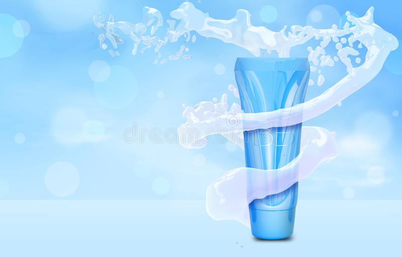 Mofa poner crema de la botella del BB para arriba en chapoteo del agua en el tubo azul de la fundación del fondo del bokeh en el  libre illustration