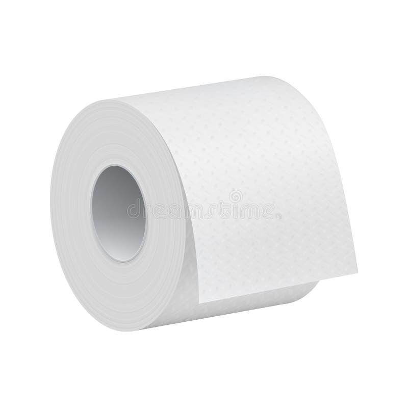 Mofa realista del rollo del papel higiénico encima de la plantilla libre illustration