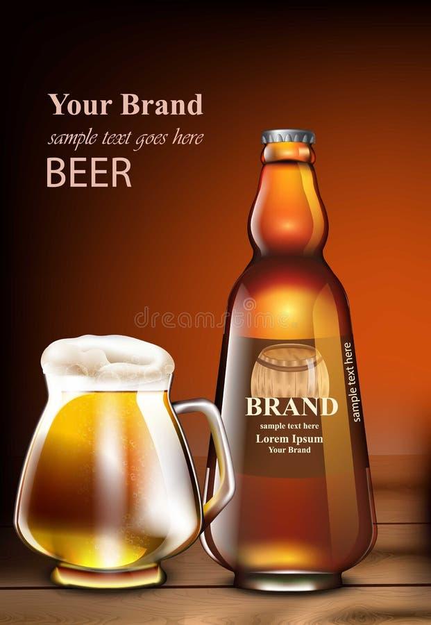 Mofa realista del vector de la cerveza para arriba Mofa de empaquetado del producto para arriba Botella de cristal y taza diseños libre illustration