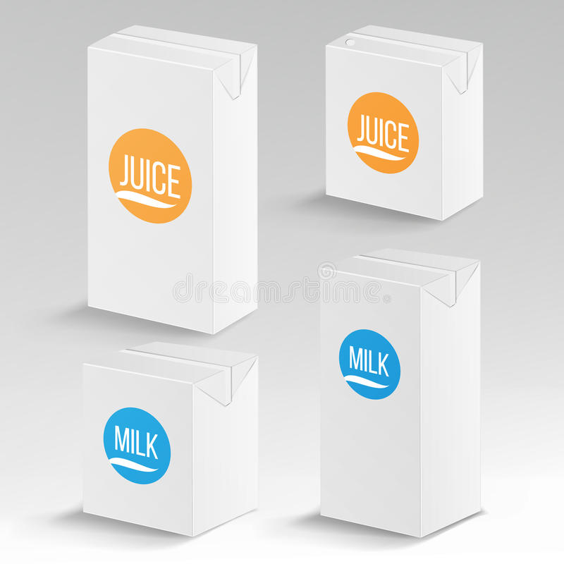 Mofa realista del vector del paquete del jugo y de la leche encima de la plantilla Encuadierne la caja de marcado en caliente 100 ilustración del vector