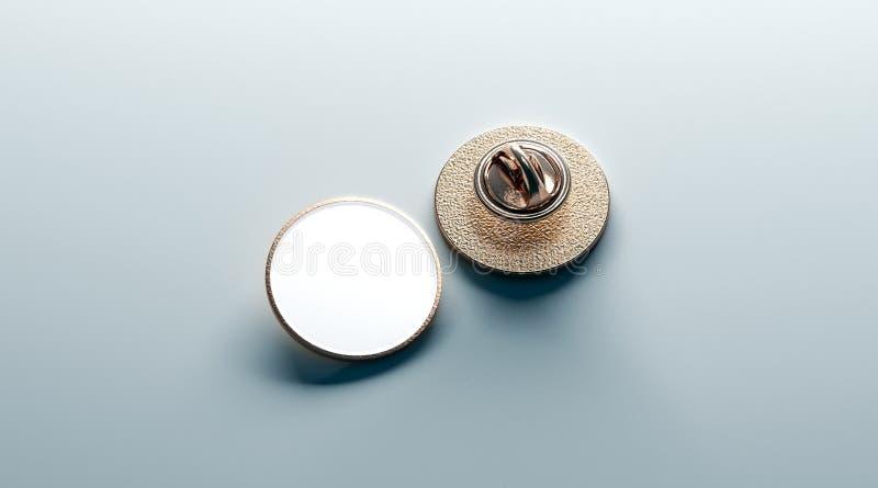 Mofa redonda blanca en blanco de la insignia de la solapa del oro para arriba, parte posterior delantera foto de archivo