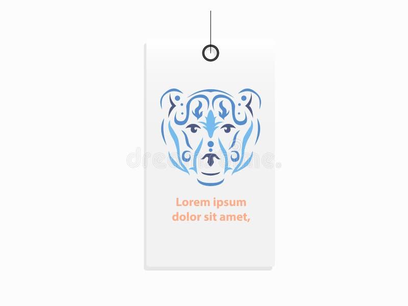 Mofa tribal de la etiqueta de la ropa del oso para arriba stock de ilustración