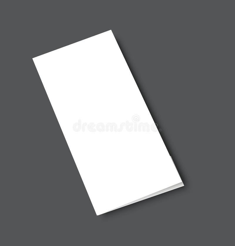 Mofa triple en blanco del folleto encima de la cubierta del retrato Aislado stock de ilustración