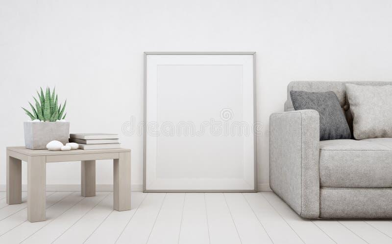 Mofa vacía blanca del marco para arriba en piso de madera con el fondo, el sofá y la tabla del muro de cemento cerca del cartel e fotografía de archivo