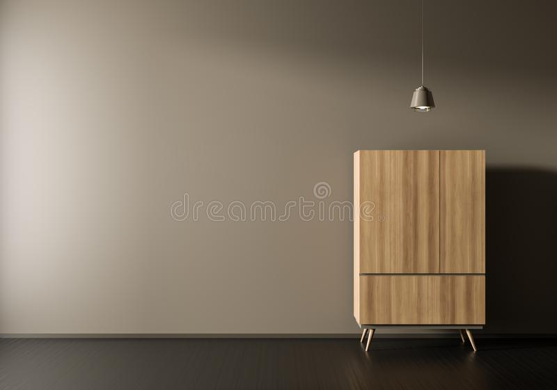 Mofa vacía de la pared para arriba en el estilo escandinavo interior con el guardarropa de madera Diseño interior minimalista ilu fotos de archivo libres de regalías