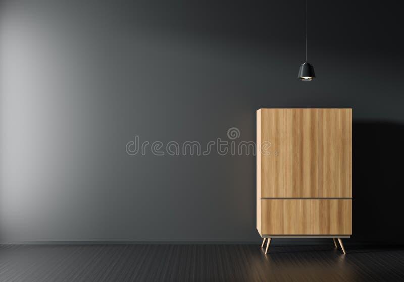 Mofa vacía de la pared para arriba en el estilo escandinavo interior con el guardarropa de madera Diseño interior minimalista ilu imagen de archivo libre de regalías