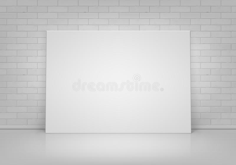 Mofa vacía del blanco del vector encima del marco del cartel que se coloca en piso con la pared de ladrillo Front View ilustración del vector