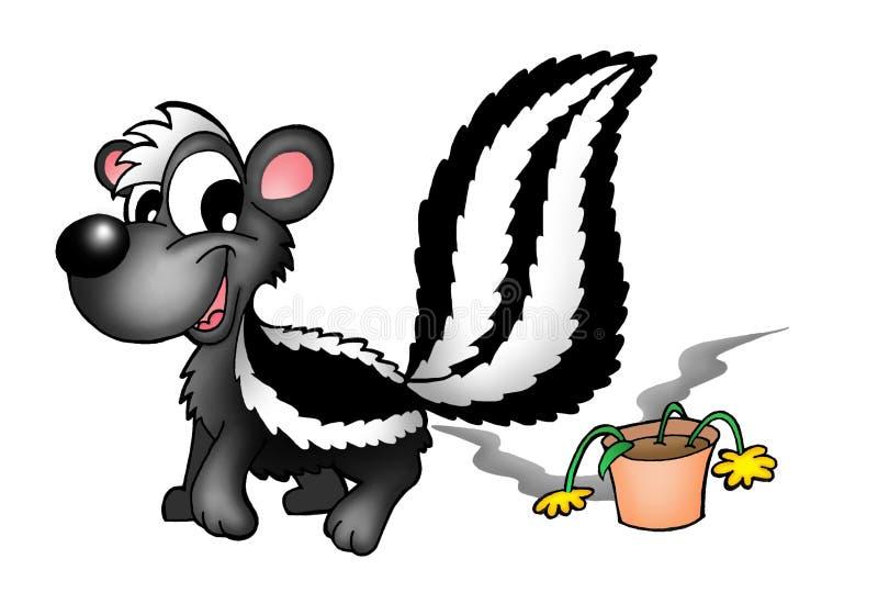 Mofeta y flor ilustración del vector