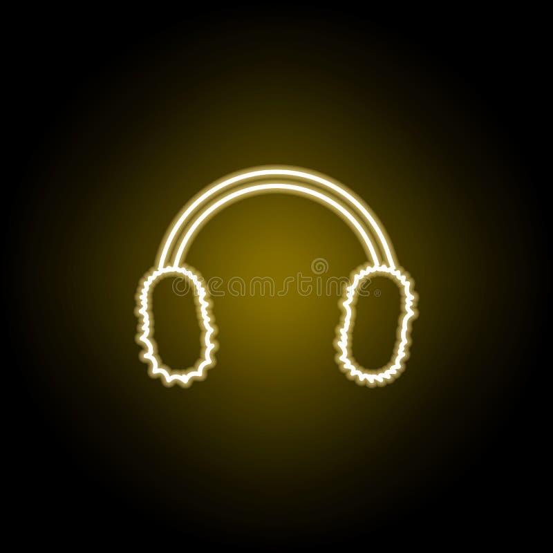 he?mofon ikona w neonowym stylu Znaki i symbole mog? u?ywa? dla sieci, logo, mobilny app, UI, UX royalty ilustracja