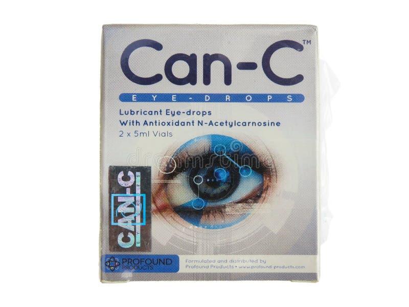 mogą oko krople Przeciwutleniacz N-Acetylcarnosine Biały tło obraz stock