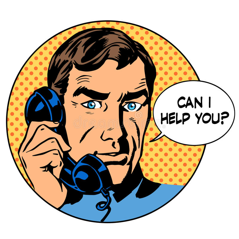 Mogę pomagam ciebie obsługiwać telefonu pytania online poparcie ilustracji