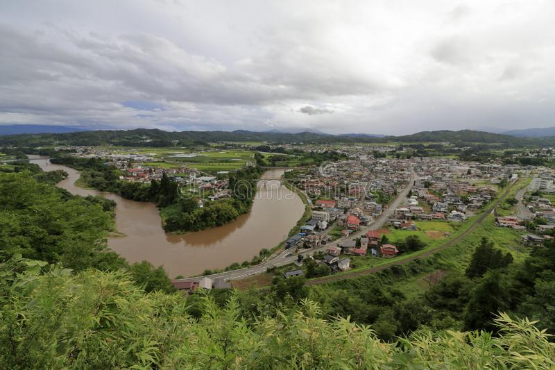 Mogami river, view from Tateyama park in Sagae. Yamagata, Japan royalty free stock image