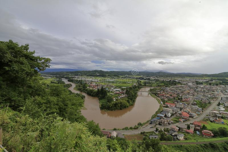 Mogami river, view from Tateyama park in Sagae. Yamagata, Japan stock image