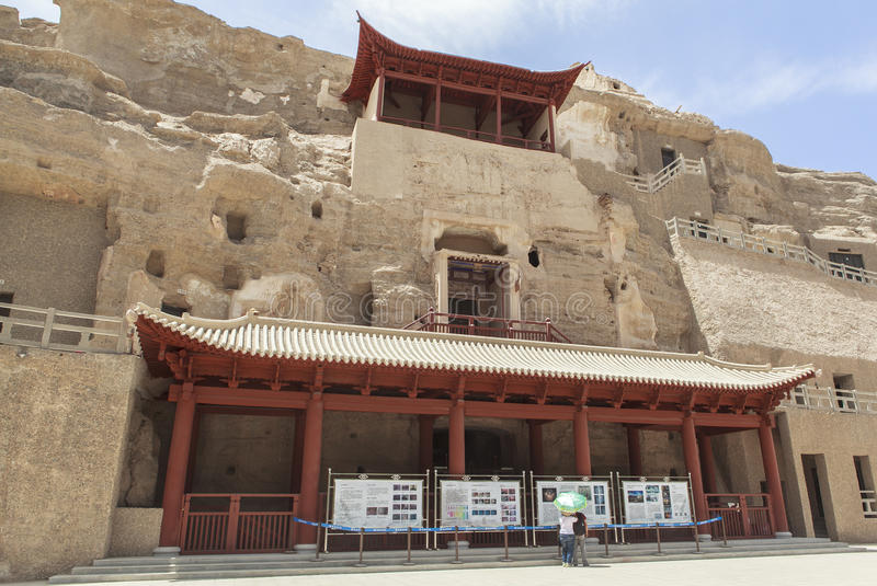 Mogao Caves in Dunhuang, China. This photo is taken in Dunhuang, China, The Mogao Caves also known as the Thousand Buddha Grottoes form a system of 492 temples royalty free stock photo