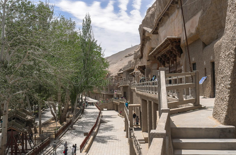 Mogao Caves in Dunhuang, China. This photo is taken in Dunhuang, China, The Mogao Caves also known as the Thousand Buddha Grottoes form a system of 492 temples royalty free stock photography