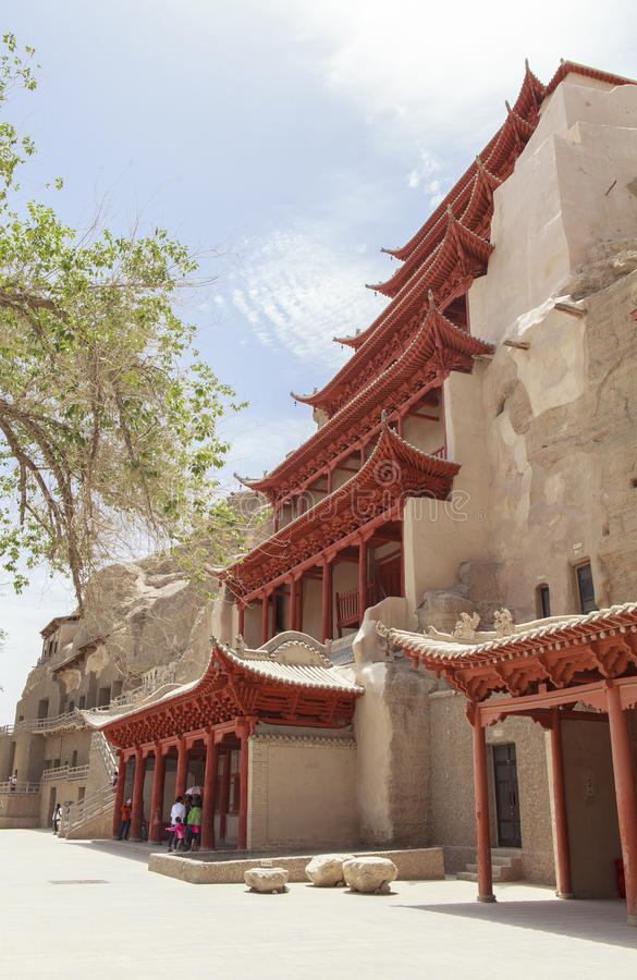 Mogao Caves in Dunhuang, China. This photo is taken in Dunhuang, China, The Mogao Caves Chinese: 莫高窟; pinyin: Mògāo kū; Wade–Giles royalty free stock photo