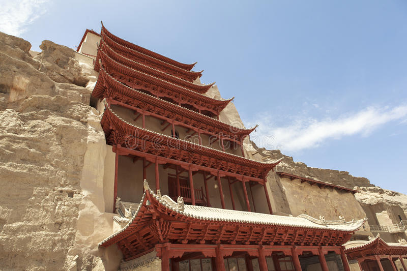 Mogaoholen in Dunhuang, China stock foto's