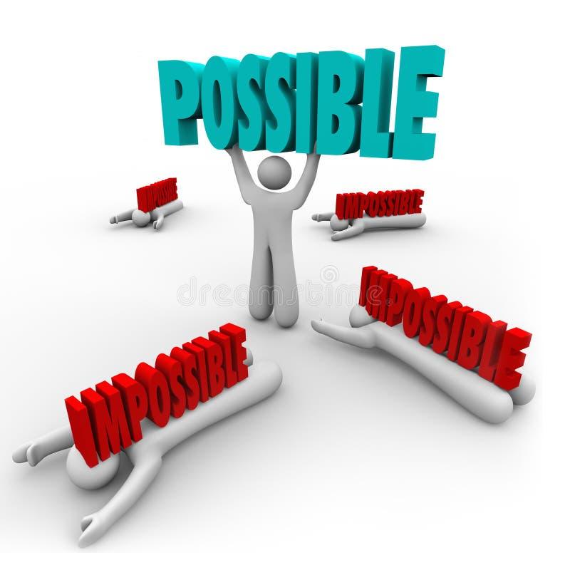 Mogelijk versus Onmogelijk Word van Mensenliften Winnaarsucces stock illustratie