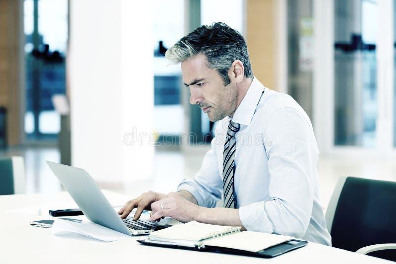 Mogen affärsman som i regeringsställning arbetar på bärbara datorn royaltyfri fotografi