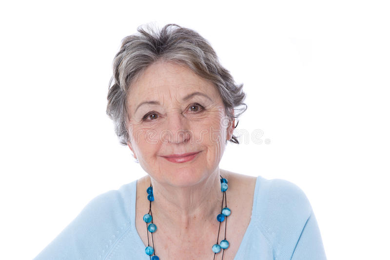 Mogen dam för realitet - äldre kvinna som isoleras på vit bakgrund royaltyfri fotografi