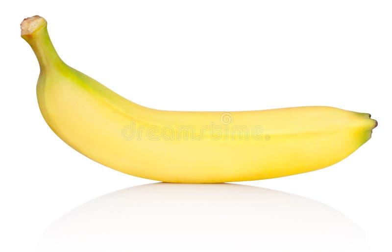 Mogen gul banan som isoleras på vit bakgrund royaltyfri fotografi
