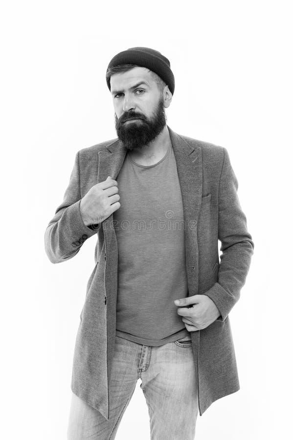 Mogen hipster med sk?gget allvarlig man som isoleras p? vit Manlig barberareomsorg Modeman med sk?gget sk?ggig man _ arkivbild