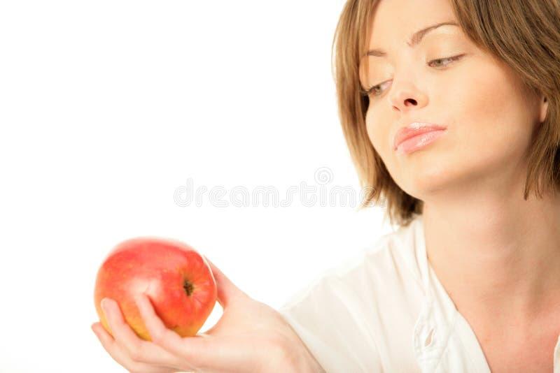 mogen kvinna för äpple royaltyfri fotografi
