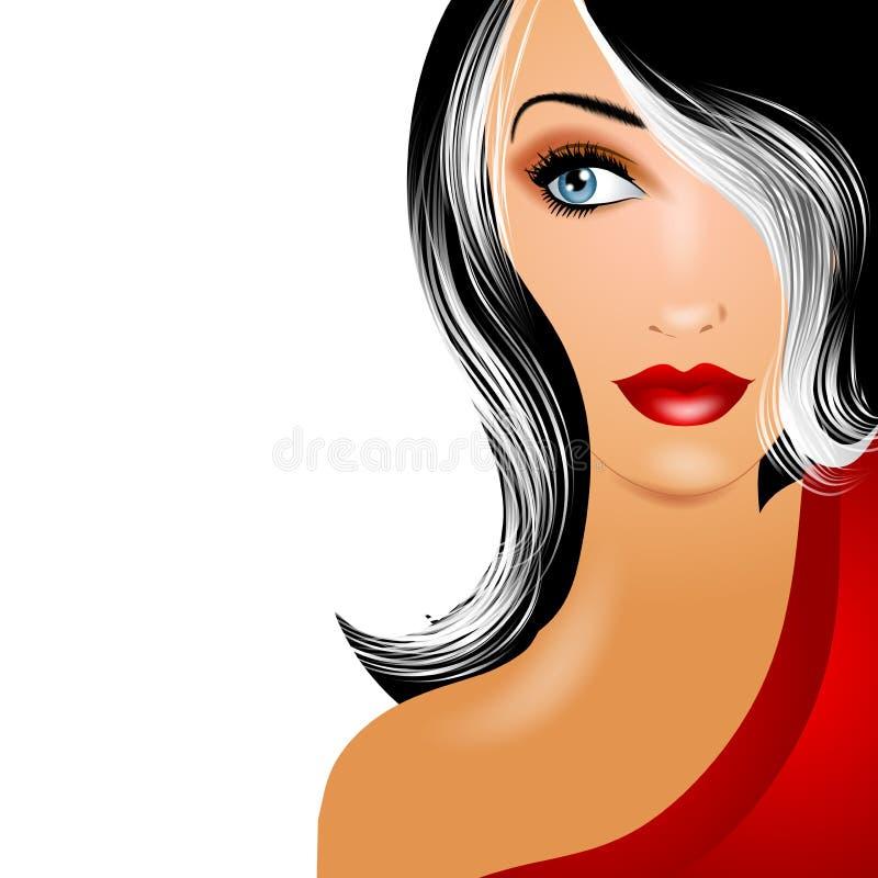 mogen kvinna för härligt gråsprängt hår stock illustrationer