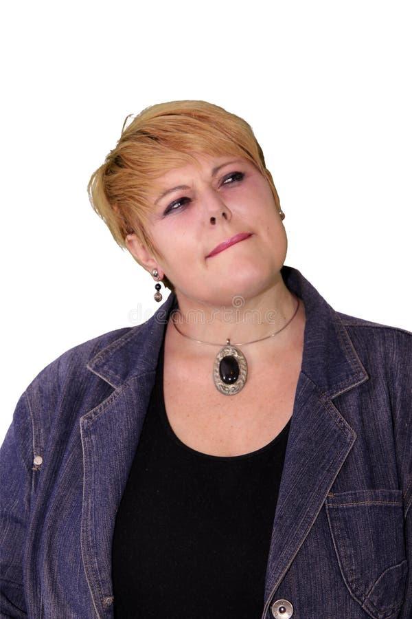 Mogen kvinnakroppsspråk - betrakta fotografering för bildbyråer