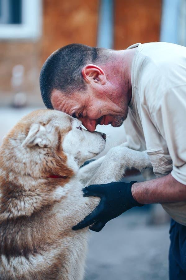 Mogen man i handskar som kramar den röda skrovliga hundpannan till pannan, ögonnolla-ögon, omsorgkamratskapbegrepp royaltyfri fotografi