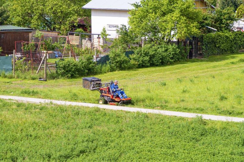 Mogen man som kör grässkäraren i en solig dGardener som kör en rida gräsklippare i ett gardenay Arbetaren som mejar gr?s i stad,  royaltyfria bilder