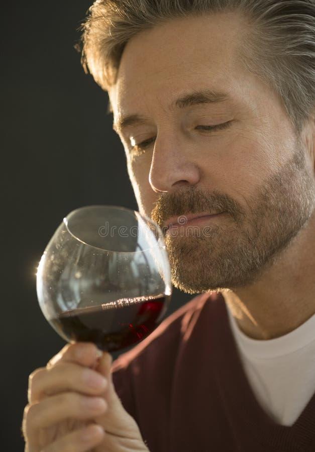 Mogen man som luktar rött vin arkivfoton