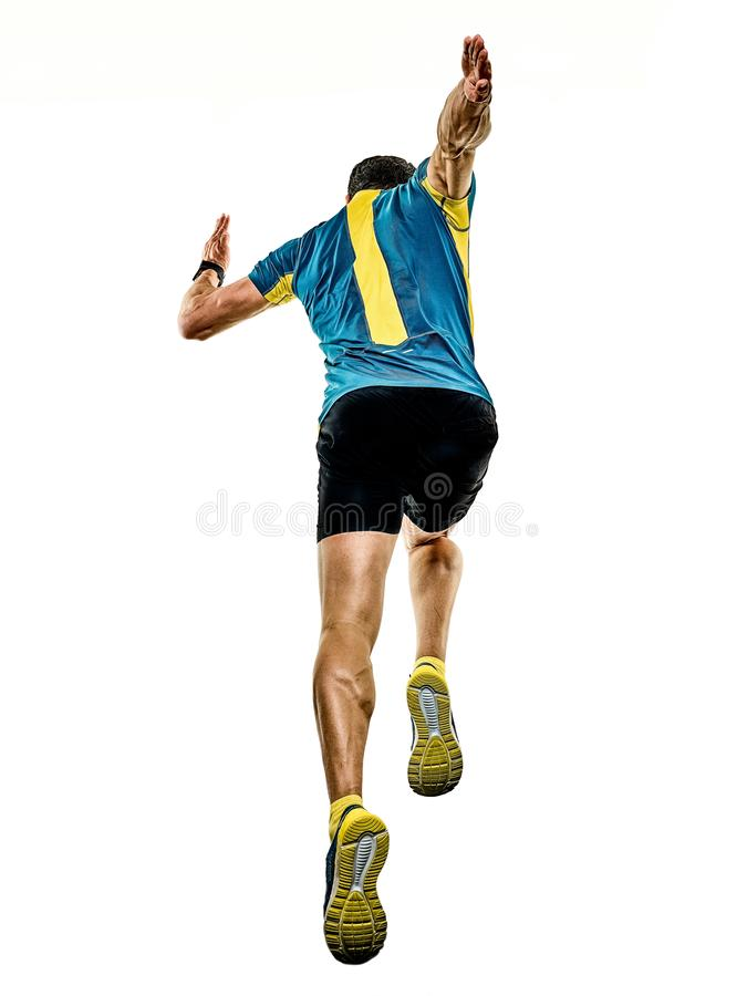 Mogen manspringlöpare som joggar jogger isolerad vit bakgrund royaltyfri fotografi