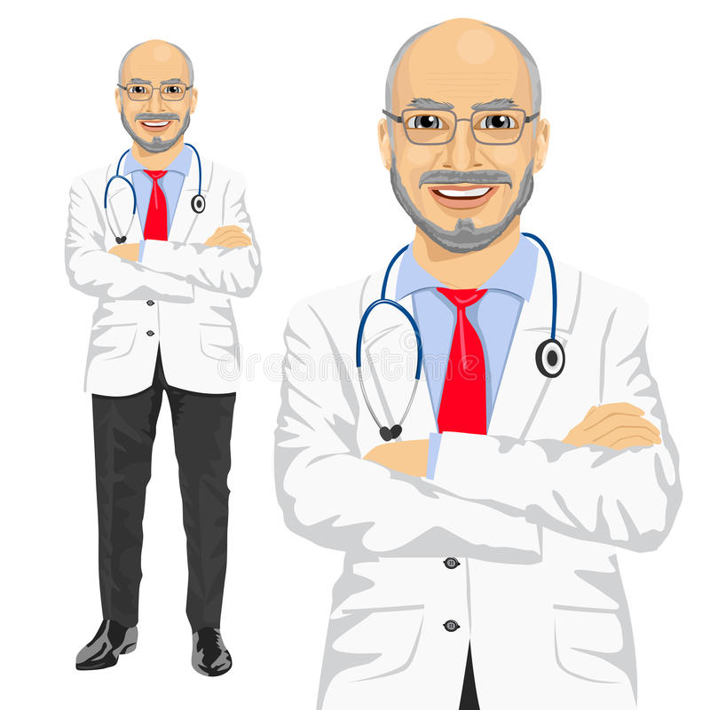 Mogen medicinsk manlig doktor med vikta armar royaltyfri illustrationer