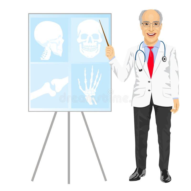 Mogen medicinsk manlig doktor som pekar på tomography vektor illustrationer