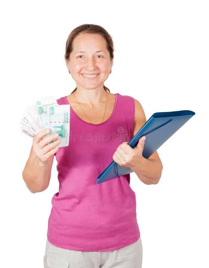 mogen pengarkvinna för mapp arkivbilder