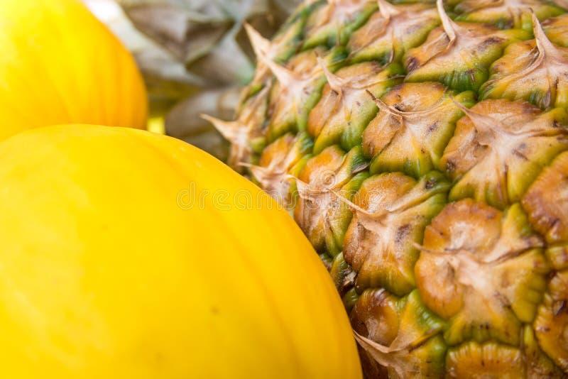 Mogen sörja-Apple grupp av gula melon på marknaden för bonde` s, Asien, hudtextur, slut upp royaltyfri bild