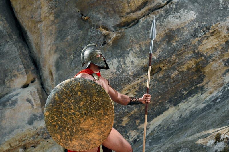 Mogen spartansk krigare i träna royaltyfri bild