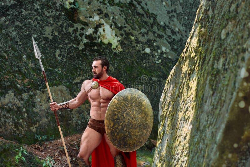 Mogen spartansk krigare i träna fotografering för bildbyråer