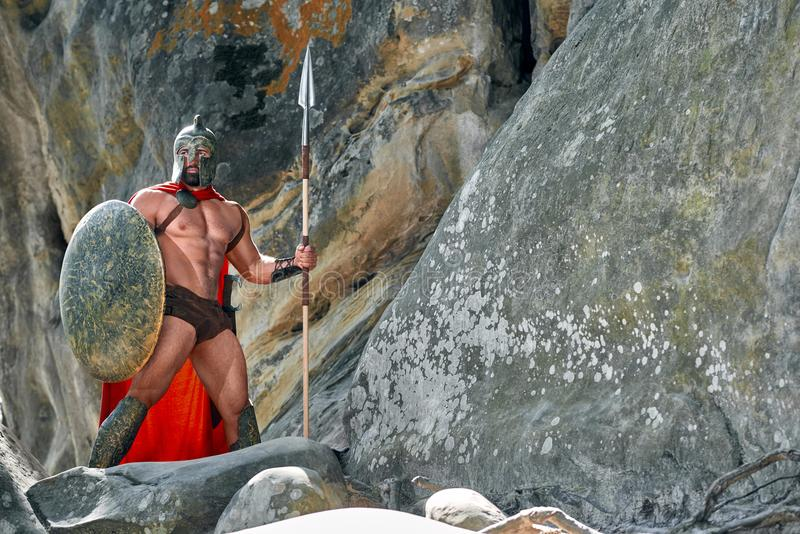 Mogen spartansk krigare i träna royaltyfria foton