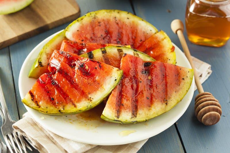 Mogen sund organisk grillad vattenmelon royaltyfria foton